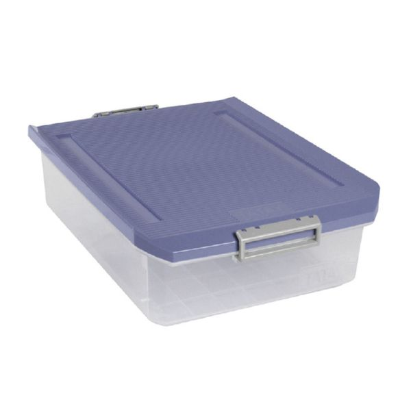 Caja plást. multiusos bajo cama 32 lts. azul lavanda