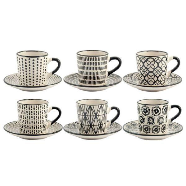 Juego 6 tazas café+plato decoración Vhera. 9 cl.